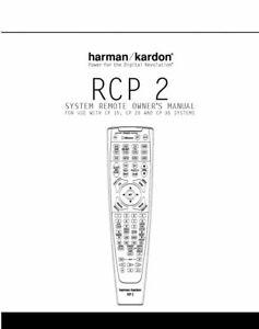 Harman Kardon RCP2 Remote Control Owners Instruction