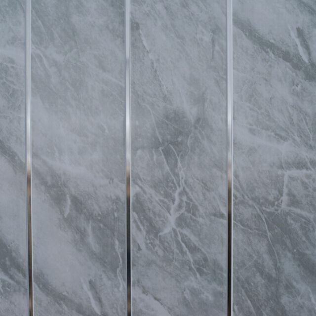 Grey Marble & Chrome Bathroom Cladding Panels PVC Kitchen