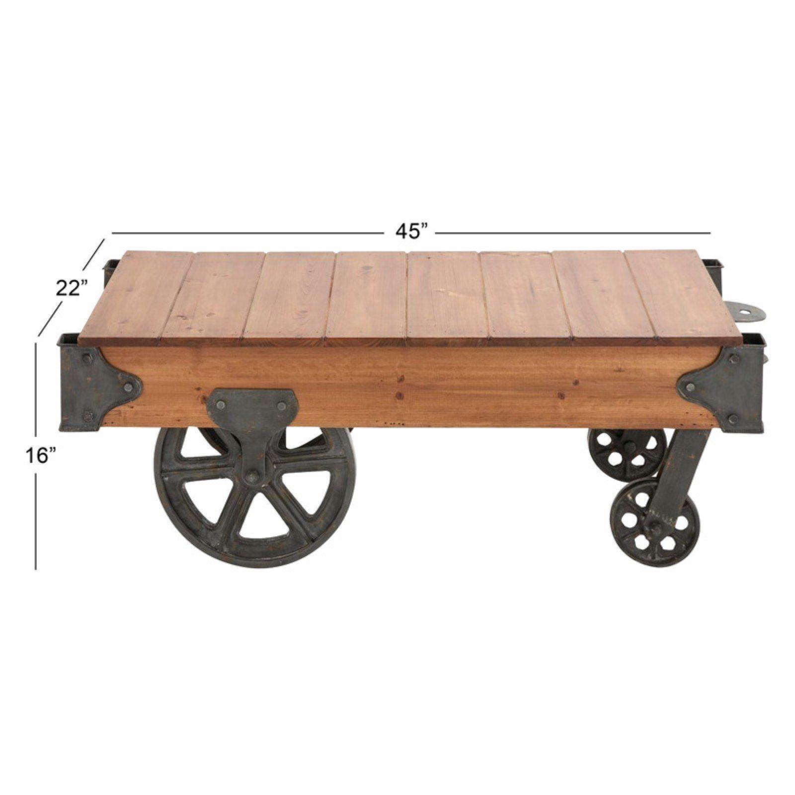 rustic industrial coffee table fir wood black iron wheels factory railroad cart
