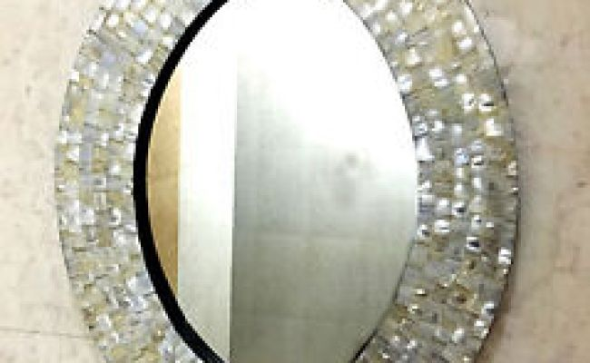 Wall Mirror Bedroom Mother Of Pearl Inlay Oval Frame