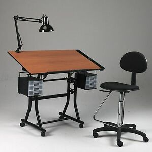 Black Drawing / Art / Hobby / Craft Table Desk | w/ Drawers, Tray, Lamp & Chair