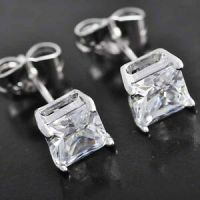 Cool Mens Silver Jewelry punk Stud Earring Square Crystal ...