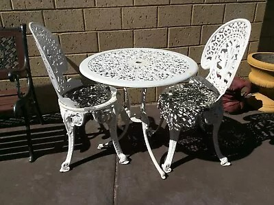 metal outdoor table and chairs australia black directors chair vintage retro enderslea cast dining set