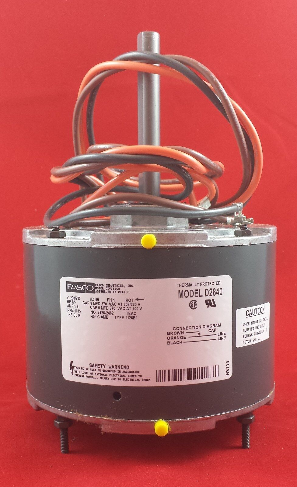 medium resolution of  wiring diagram on d2840 fasco 1075 rpm ac air conditioner condenser fan motor 1 5 hp on