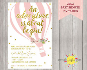 Details About Custom Printable Baby Shower Invitation Adventure Awaits Fl Hot Air Balloon