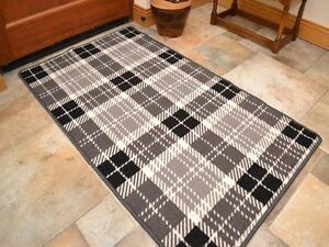 kitchen floor rugs home depot cabinets sale small large grey tartan long hall runner anti image is loading