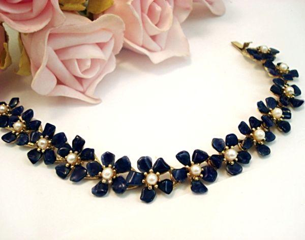 Vintage Costume Jewelry Swoboda Sodalite Cultured Pearl