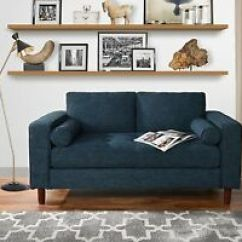 Sofas Dark Blue Sofa Art Aberdeen Modern Loveseat With Tufted Linen Fabric Living Room Couch Image Is Loading