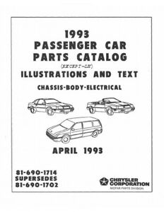1993 Chrysler Dodge Plymouth Passenger Cars Parts Book