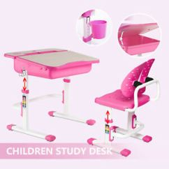 Pink Kids Chair Little Tykes Table And Chairs Adjustable Children S Study Desk Set Child Kid Openable Image Is Loading 039