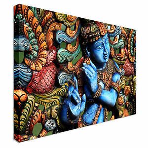 lord krishna sculpture canvas wall art print large any size ebay