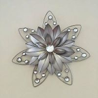 STUNNING Rustic 30cm Flower Diamante Jewelled 3d Metal ...