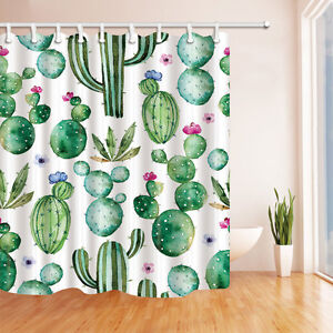 details about cactus shower curtain bathroom waterproof fabric bath curtain with 12hooks
