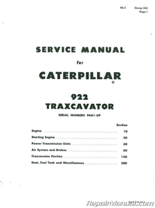 Caterpillar 922 922B Traxcavator Service Manual : CT-S