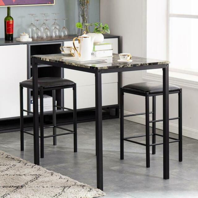 Bar Height Table Pub Set 3 Pc Counter Kitchen Metal Wood Storage Stools Dining For Sale Online Ebay