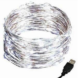 ESE 33ft 100 LED Wire String Lights, USB Plug In Warm