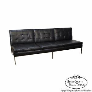 details about florence knoll mid century modern black leather chrome frame armless sofa b