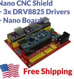 arduino nano cnc shield drv8825 board package kit w 3x optical limit switch [ 1600 x 1600 Pixel ]