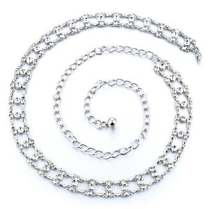 Ladies Girls Silver Waist Belt Diamante Chain Adjustable