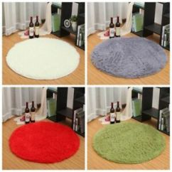 Round Area Rug In Living Room What Is A Good Color For Anti Skid Fluffy Shaggy Home Carpet Floor Image Loading