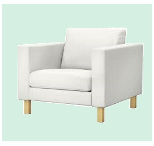 ikea karlstad chair accent chairs under 50 armchair blekinge white slipcover cover cotton rare ebay
