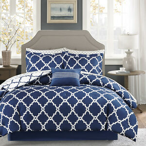 details about beautiful modern chic reversible navy blue white comforter set pillows sheets