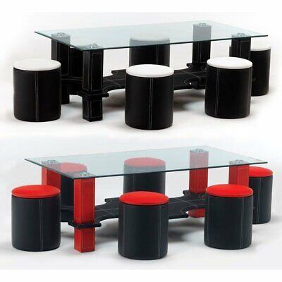 luxor glass coffee table six faux leather stools black white or red ebay