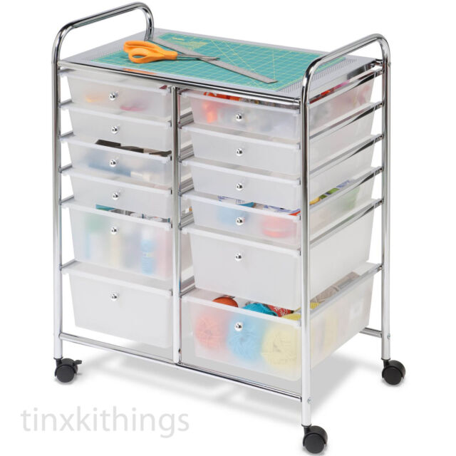 Craft Storage Cart Containers With 12 Drawers Rolling Mobile Organizer Office For Sale Online Ebay