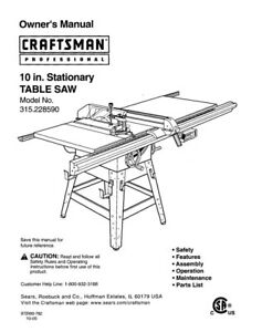 Craftsman 315.228590 Table Saw Owners Instruction Manual
