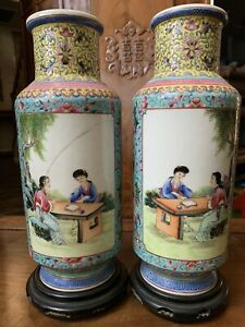 Chinese Antique Pair Famille Rose porcelain Vase China Asian