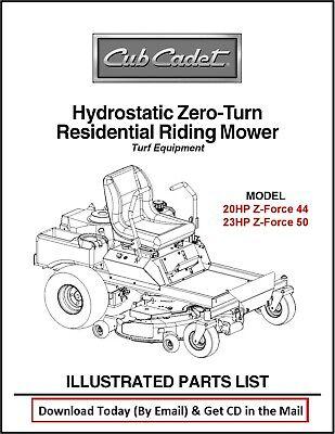 Cub Cadet Hydrostatic Zero Turn Commercial Mower Parts