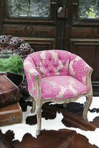 FRENCH BAROQUE Damask Accent VANITY CHAIR Hot Pink Babies ...