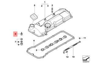 Genuine BMW E34 E36 E38 E39 E46 E53 E60 Cap Nut Valve