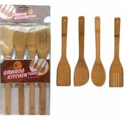 Kitchen Spoon Waffle Weave Towels 4 X Piece Bamboo Wooden Cooking Utensils Set Tools Spatula Image Is Loading