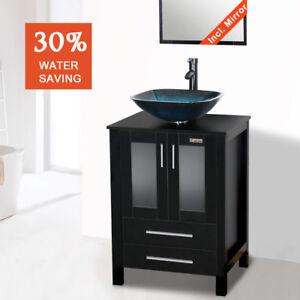 details about bathroom vanity combo 24 inch black mirror vessel glass single sink w faucet