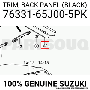 7633165J005PK Genuine Suzuki TRIM, BACK PANEL (BLACK