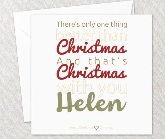 Personalised Handmade Happy Christmas Card Wife Husband Girlfriend Boyfriend