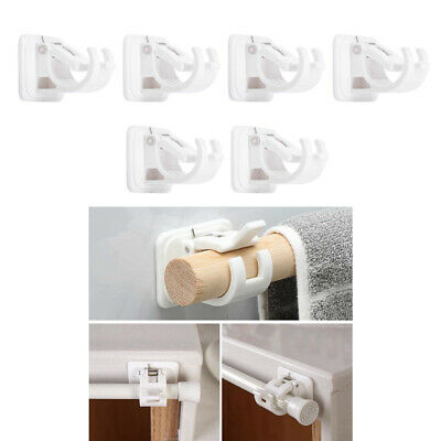 6x curtain rod brackets no drill adjustable hang curtain rod holders for kitchen ebay