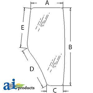 John Deere Parts CAB DOOR GLASS RH R198625 6603,6403,5625