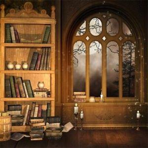 study background library backdrop studio indoor scene