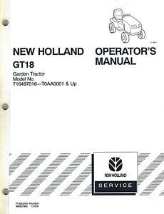 NEW HOLLAND GT18 GARDEN TRACTORS OPERATOR MANUAL