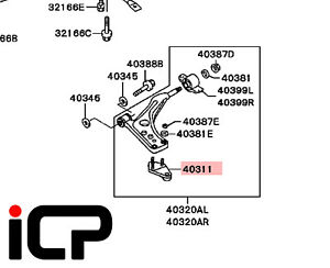 Front Lower Suspension Arm Bracket Fits: Mitsubishi Lancer