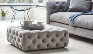details about large coffee table footstool chesterfield upholstered steel plush velvet new