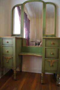 details about vintage banderob chase wooden 3 piece nile green bedroom set