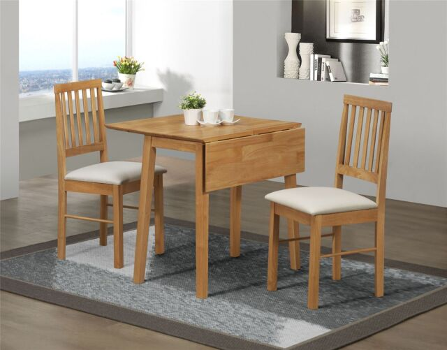 2 chair kitchen table set update cabinets birlea rubberwood small drop leaf dining and chairs in solid wood oak finish