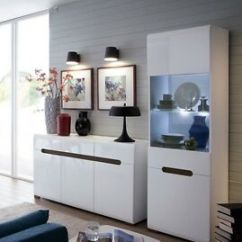 White Gloss Living Room Furniture Decor Black Leather Sofa Set Display Led Unit Sideboard Image Is Loading