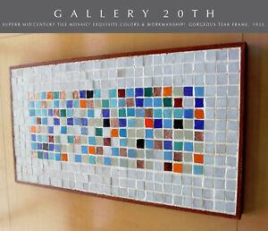 details about superb mid century modern original tile mosaic wall art vtg 50 s atomic table