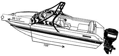 7oz STYLED TO FIT BOAT COVER GLASTRON GT 200 BR O/B W