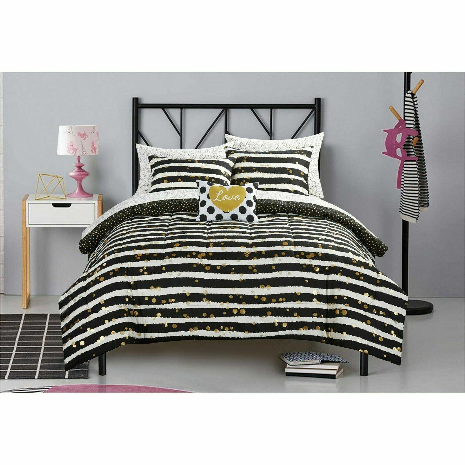 gold black white comforter set sheet set love design girls 7pc bedding queen