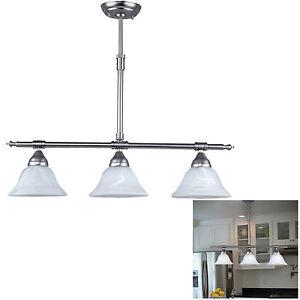 Brushed Nickel Kitchen Island Pendant Light Fixture Dining 3 Globe
